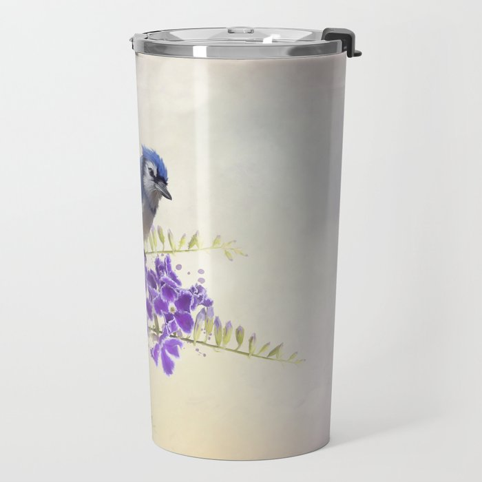 Blue Jay Perching on Blue Flowers watercolor painting Travel Mug