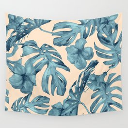 Island Vacay Hibiscus Palm Pale Coral Teal Blue Wall Tapestry