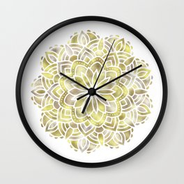 Mandala Multi Metal Yellow Gold Wall Clock