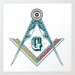 Square and Compass - freemasonry Art Print