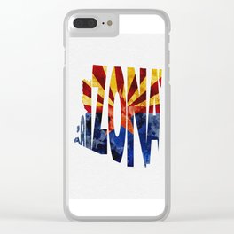 Arizona Typographic Flag Map Art Clear iPhone Case
