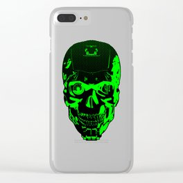 Gamer Skull CARTOON GREEN / 3D render of cyborg head Clear iPhone Case