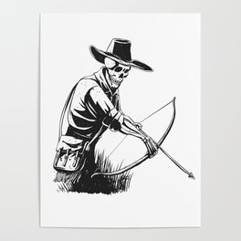 Cowboy skeleton with crossbow - black and white - gothic skull cartoon - ghost silhouette Poster