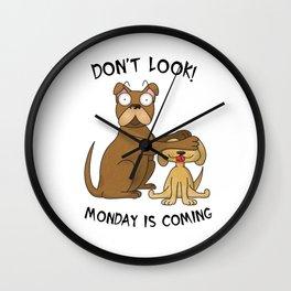 French Bulldog Monday Wall Clock