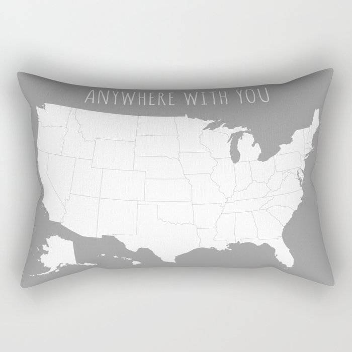 Anywhere With You Usa Map In Grey Rectangular Pillow By
