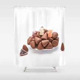 the cuberdons chocolate Shower Curtain