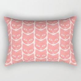 Cat Face Pattern in Peach Pink Rectangular Pillow