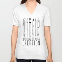 clear V-neck T-shirts featuring weapons of mass creation by Bianca Green