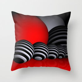 round and red and white and black Throw Pillow