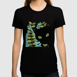 Black Kitty Cat In The Garden T-shirt