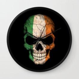 Dark Skull with Flag of Ireland Wall Clock