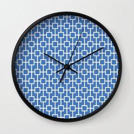Azure Blue Lattice Pattern Wall Clock