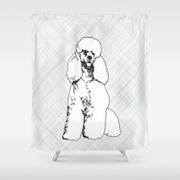 poodle Shower Curtains featuring My Poodle by Mike van der Hoorn