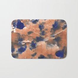 Peach Blue colorful watercolor design Bath Mat