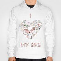 brompton Hoodies featuring I Love My Bike by Wyatt Design