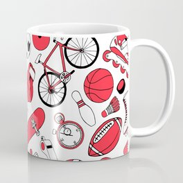 I Love Sports (red pattern) Coffee Mug