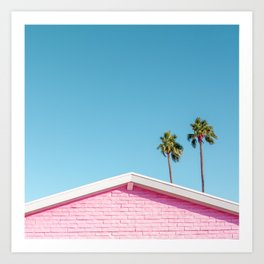 Pink House Roofline with Palm Trees (Palm Springs) Art Print