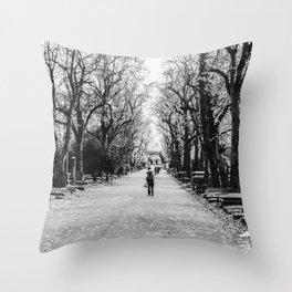 Walking alone Throw Pillow