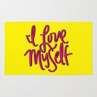 kendrick lamar Area & Throw Rugs featuring Love Myself by Chelsea Herrick
