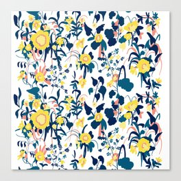 Buttercup yellow, salmon pink, and navy blue flowers on white background pattern Canvas Print