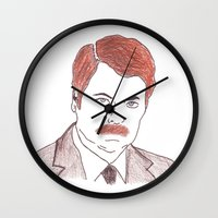 ron swanson Wall Clocks featuring Ron Swanson  by nicoleskine