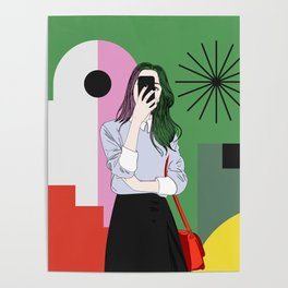 The magic of colours. Aesthetic wall art of young girl taking a selfie with her mobile phone Poster