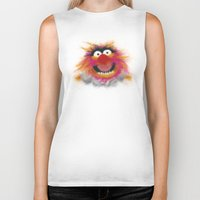 muppets Biker Tanks featuring Animal, The Muppets by KitschyPopShop