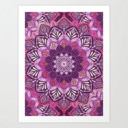 Boho Mandala in Deep Purple and Pink Art Print