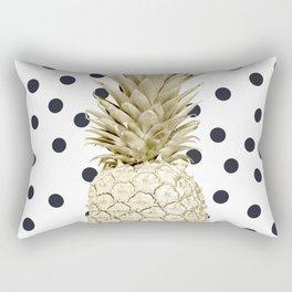 Gold Pineapple on Black and White Polka Dots Rectangular Pillow