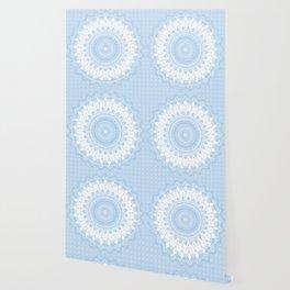Baby Blue Boho Mandala Wallpaper