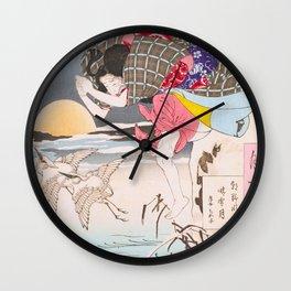 Leaping Geisha - Vintage Japanese Art print Wall Clock