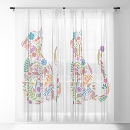Fancy And Fine Flowered Cat Garden Design Sheer Curtain