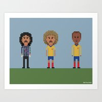 colombia Art Prints featuring Colombia by 8bit Football