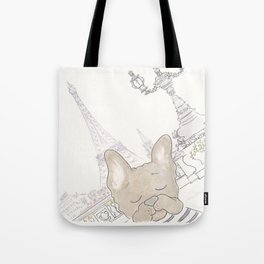 French Bulldog Photobomb in Paris with Eiffel Tower Tote Bag