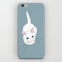 Kitty cat Illustrated Print White Pink Blue iPhone Skin
