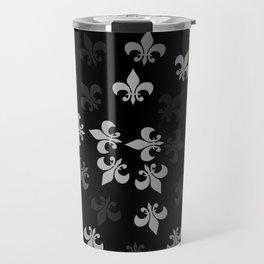 Black and White Fleur-Di-Lis Travel Mug