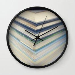 Blue chevron books Wall Clock