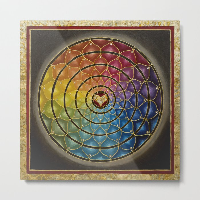 Earth Rainbow Mandala - Acrylic with Swarovski crystals w/ gold leaf Metal Print
