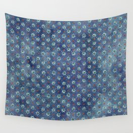 Amazing Watercolor Snowflakes Pattern on the dark blue background Wall Tapestry