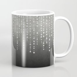 Silver Glamour Faux Glitter on grey Texture Coffee Mug