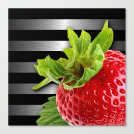 Strawberry Black & Silver Metallic Stripes Canvas Print