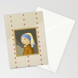 Girl with pearl by Vermeer  Stationery Cards