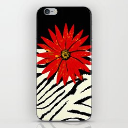 Animal Print Zebra Black and White and Red flower Medallion iPhone Skin
