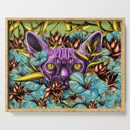 The Sphynx and the Flowers Serving Tray