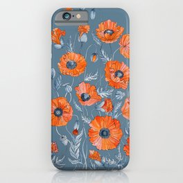 Red poppies in grey iPhone Case