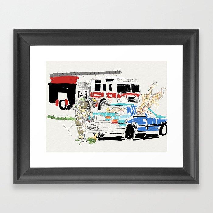 Firetruck Framed Art Print