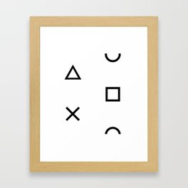 Playstation Controller Pattern (Black on White) Framed Art Print