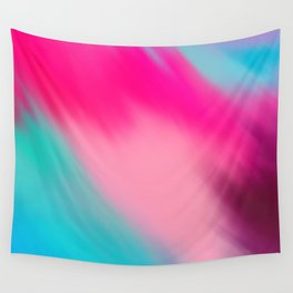 Artistic abstract pink aqua teal watercolor brushstrokes Wall Tapestry