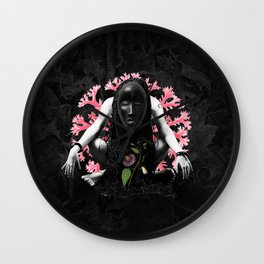Passion flower mask collage Wall Clock