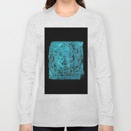 Aqua dolphin roman mosaic pattern Long Sleeve T-shirt